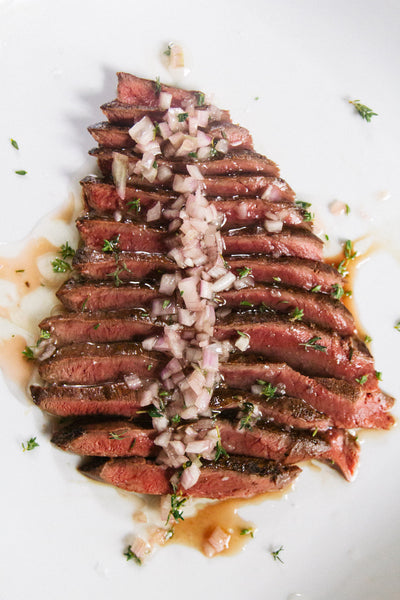 Heart steak sliced with vinaigrette