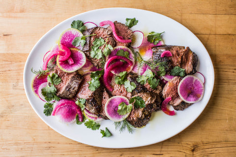 Grilled Steak with Radish and Pickled Onion Salad