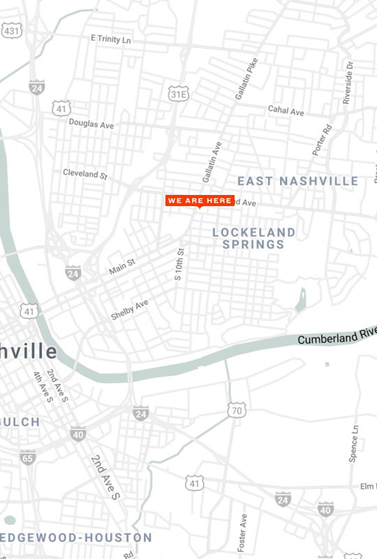 A map showing our store's location in Nashville, TN