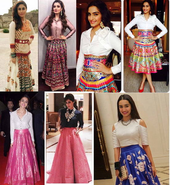 Long ethnic flared skirts ideas inspired by Bollywood stars