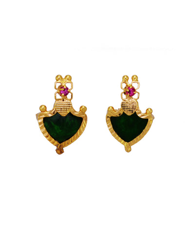Big Green Palakka Stud Earring - earrings by Shrayathi