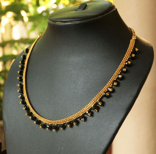 Black Beaded Necklace -  by Shrayathi