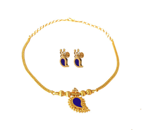 Blue Mango Necklace With Earrings -  by Shrayathi