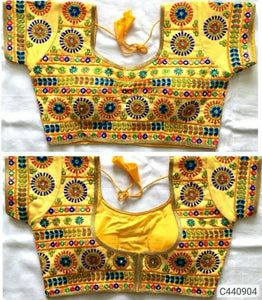 Glorious Banglori Silk Thread and Foil Mirror Embroidery Pattern Ready to Wear Blouse