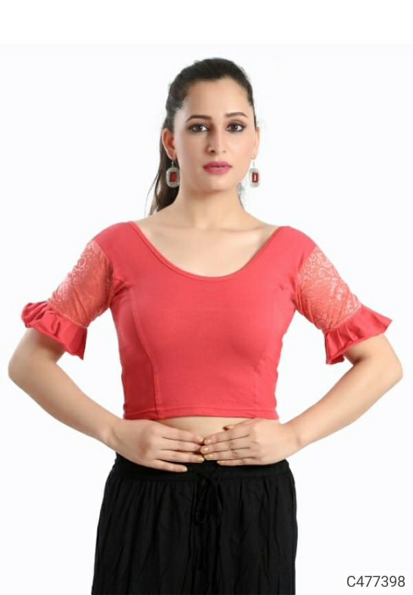 Trendy Cotton Lycra Plain With Net Ready to Wear Blouses