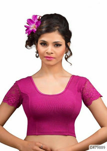 Delicate Cotton Lycra Plain With Net Ready to Wear Blouses