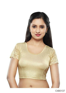 Shimmer Plain with Net Ready to Wear Blouses