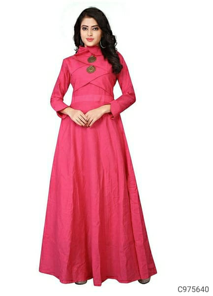 Women Cotton Slub Solid Gowns