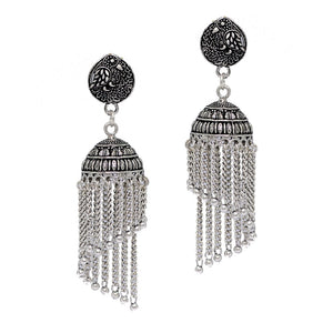 Peacock Stud Spiral Silver Tone Chain Style Oxidised Jhumka Earrings of Jaipur - earrings by Shrayathi