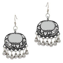 Partywear Collection Silver Color Mirror Work Oxidised Earrings - earrings by Shrayathi