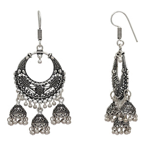 Silver Color Traditional Jhumki Earrings For Girls & Women