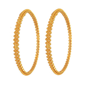 Zig zag design gold plated bangle - Bangle by Shrayathi