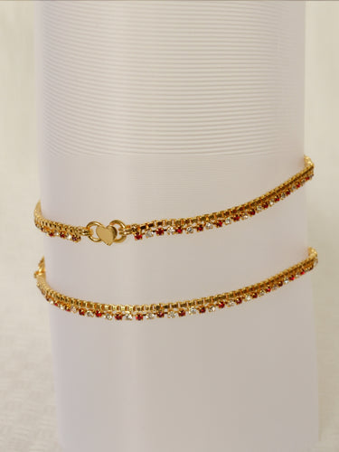 Gold plated anklet with maroon and white stones -  by Shrayathi