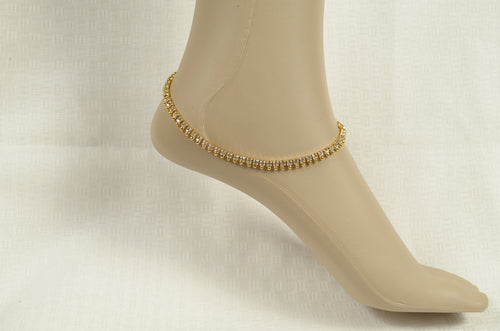 Beautiful white stone anklet -  by Shrayathi