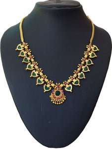 Green palakka necklace with 14 palakka -  by Shrayathi