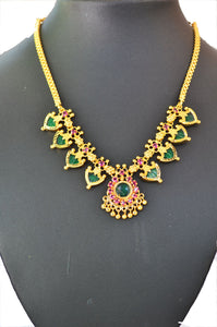 Green palakka necklace with 8 palakka -  by Shrayathi
