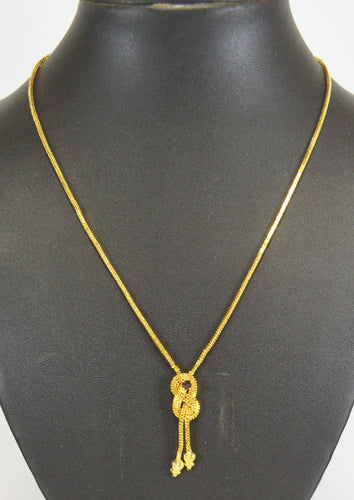 Gold Plated Chain With Small stone pendant -  by Shrayathi