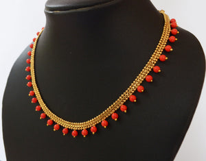 Orange Beaded Necklace -  by Shrayathi