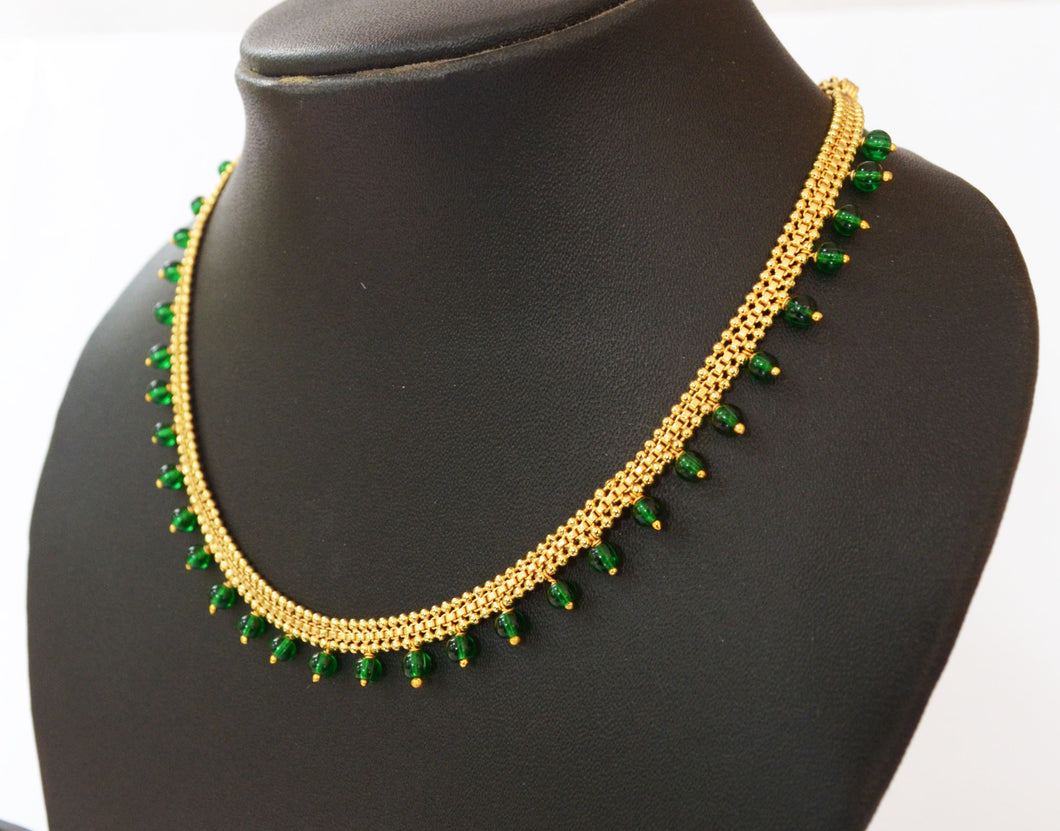 Green Beaded Necklace -  by Shrayathi