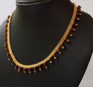 Maroon Beaded Necklace -  by Shrayathi