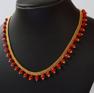 red beads gold plated necklace