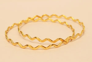 Zig zag gold plated bangle -  by Shrayathi