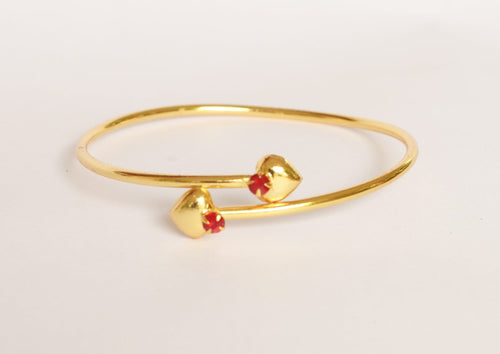 Heart bangle with red stones - Bangle by Shrayathi