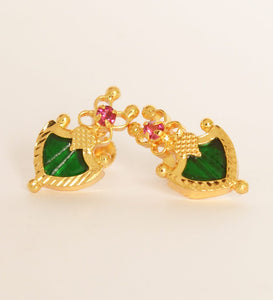 Small Green Palakka Stud Earring - earrings by Shrayathi