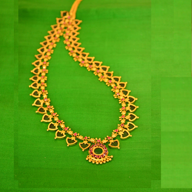 Green Long Palakka Necklace -  by Shrayathi