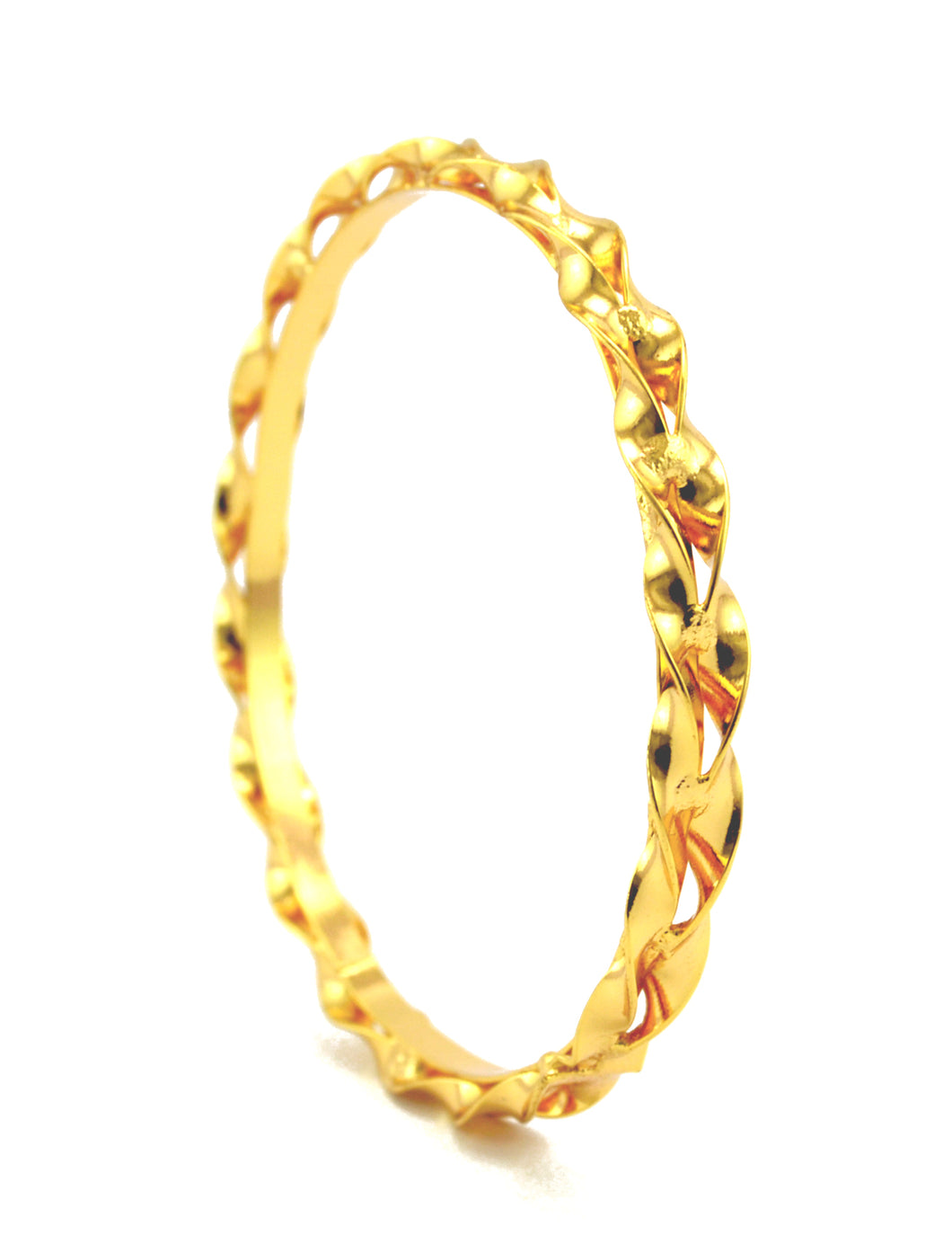 Trendy gold plated twisted bangle - Bangle by Shrayathi