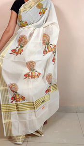 Kerala Kasavu Saree With Kathakali Design