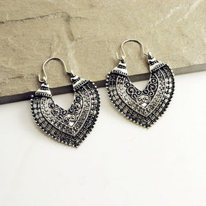 vintage silver color hollow heart drop earring -  by Shrayathi