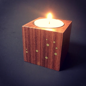 Walnut and Brass Constellation Candle Holder