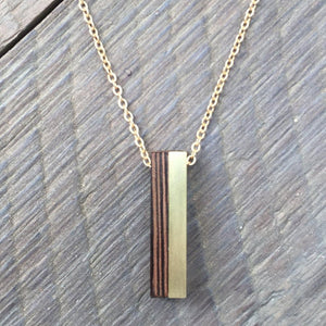 Wenge Wood and Brass Pillar Necklace