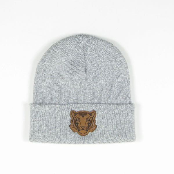 Marled Yarn Leather Tiger Beanie