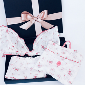 Floral Lingerie Gift Set - includes non-wired bra, matching short and lingerie bag in a gift box