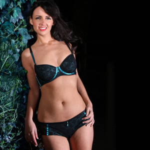 Midnight Garden lingerie set on our model