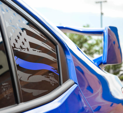 Subaru wrx sti American flag decal thin blue line stripe