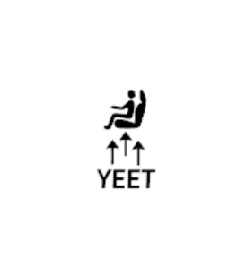 YEET seat button decal sticker