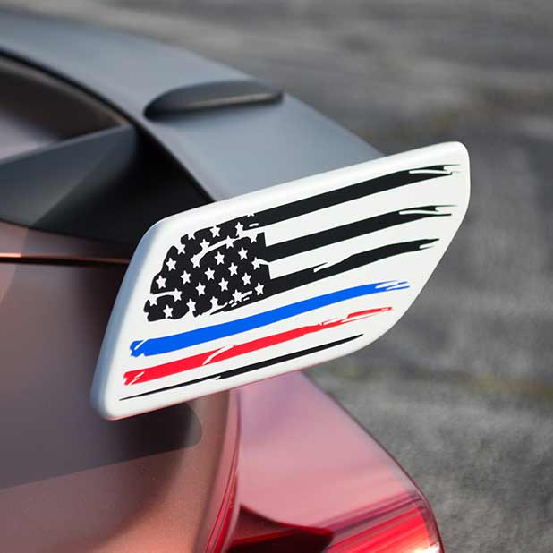 American Flag with Colored Stripe Spoiler Decal for 86 and BRZ
