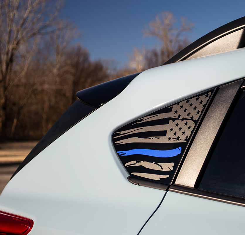 2018+ Subaru Crosstrek: American Flag WITH Colored Stripe Window Decal V2