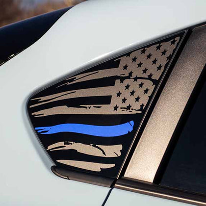 Subaru Crosstrek american flag window decal sticker matte black with thin blue line