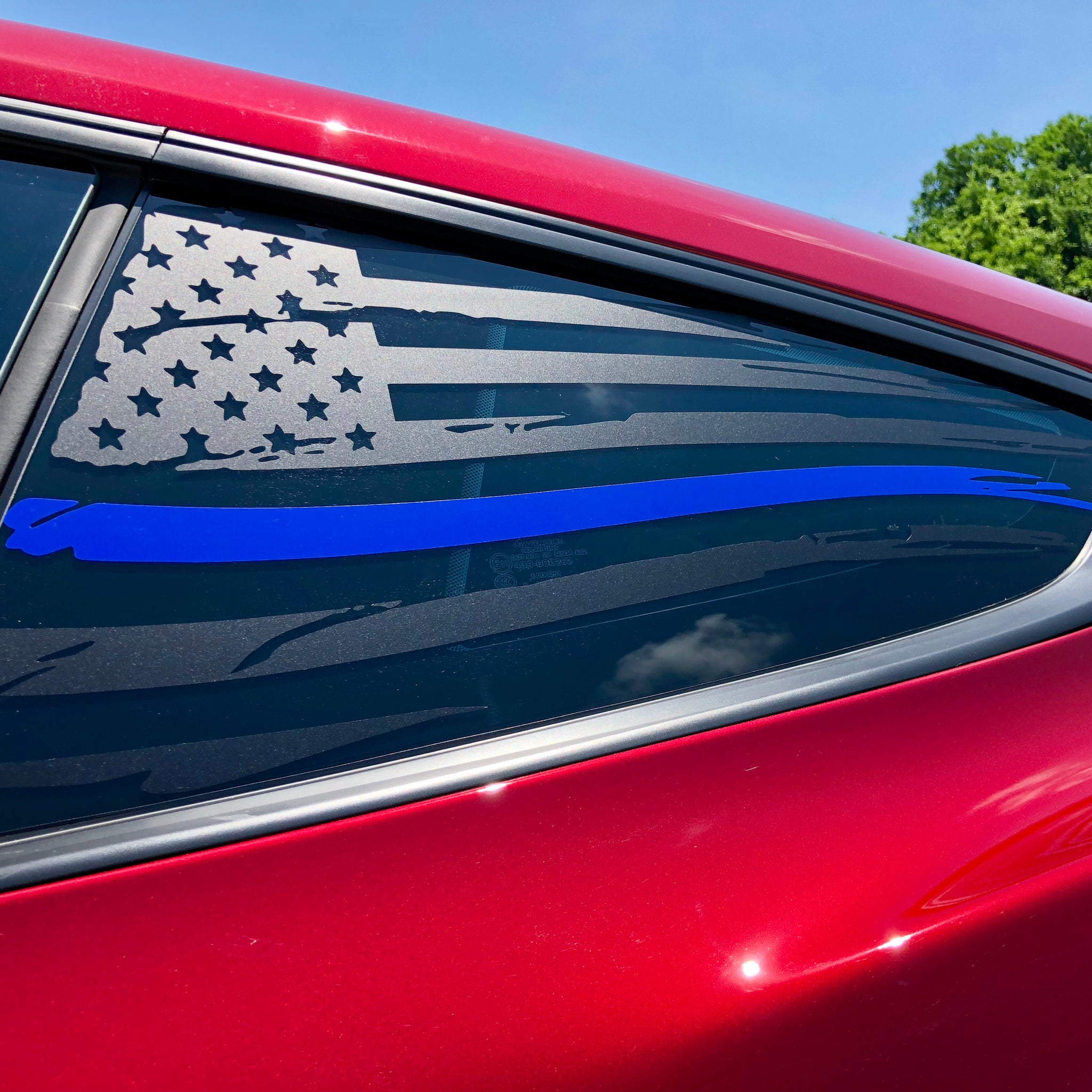 Ford Mustang 2015 and newer American flag decal sticker with thin blue line stripe s550