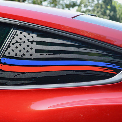 thin blue and red line police first responders firefighters american flag decal sticker for Ford Mustang