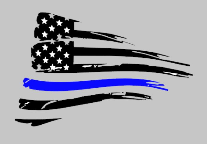 Ford Mustang 2015 and newer American flag decal sticker with thin blue line stripe