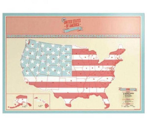 USA Scratch Map Travel Poster