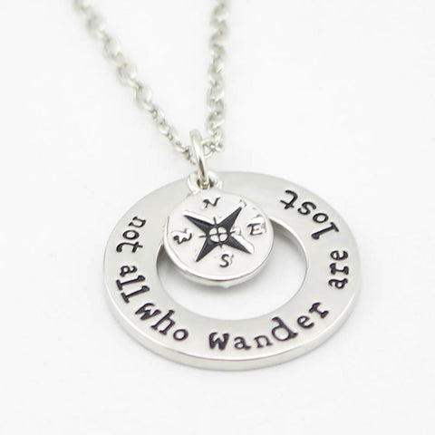 "Travelers Necklace ""Not All Who Wander Are Lost"" Inspirational Jewelry"