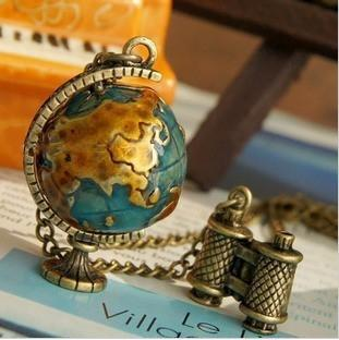 Vintage Miniature Telescope & Globe Necklace