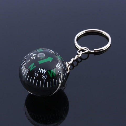 1 pcs 28mm Ball Compass Keychain for Camping Hiking Travel Outdoor Survival