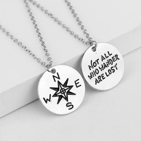 """Not All Who Wander Are Lost"" Travel Theme Couples Necklace - Silver"